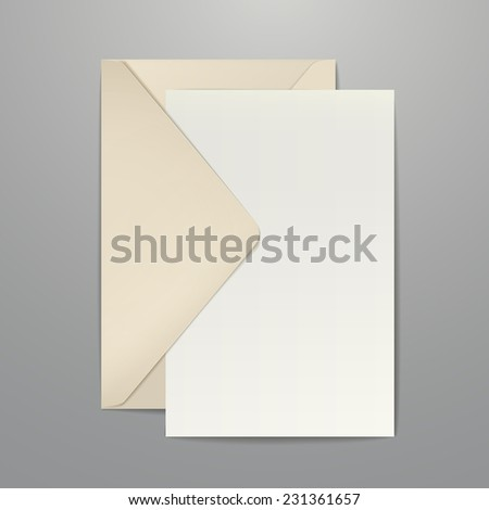 brown envelope and blank letter isolated on white - stock photo