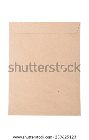 Brown Envelope document on white background. - stock photo