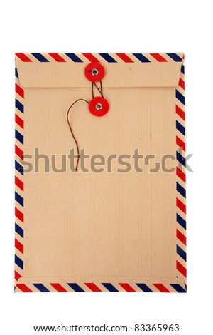 brown envelope with a strap isolated on white background - stock photo
