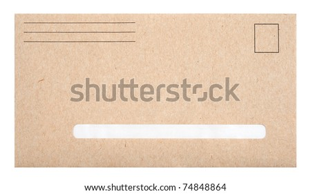 Brown envelope with blank space for address, isolated on white. - stock photo