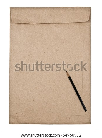 brown envelope with pencil - stock photo