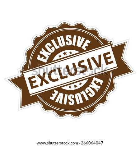 Brown Exclusive Ribbon, Badge, Label, Sticker, Banner, Sign or Icon Isolated on White Background - stock photo