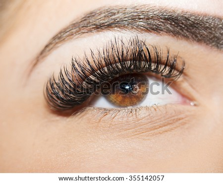 Brown Eye Makeup.  Beautiful Eyes Make up detail, perfect beauty eyebrows - stock photo
