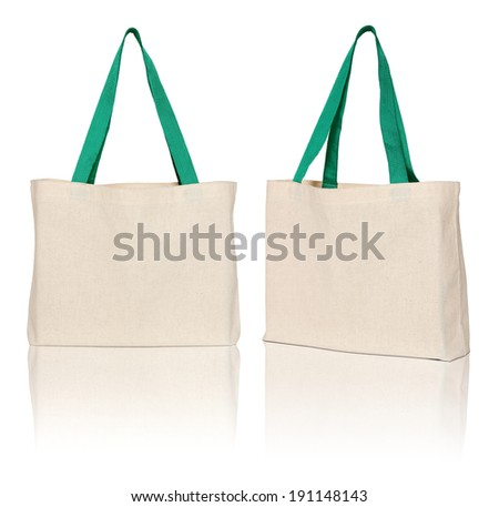brown fabric bag on white background - stock photo
