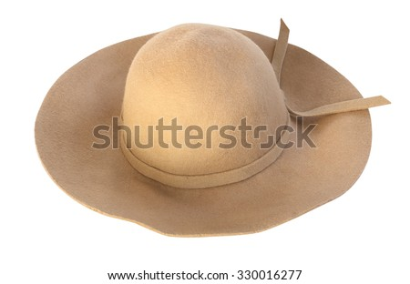 Brown fashion hat isolated on white background. - stock photo