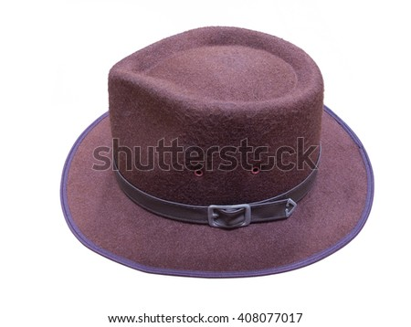 Brown fedora hat on white. with clipping path. - stock photo