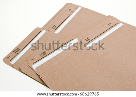 Brown File Folders - stock photo