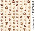 Brown footprints seamless pattern. Raster version - stock photo