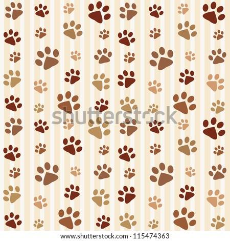 Brown footprints seamless pattern. Raster version - stock photo