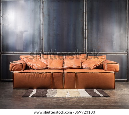 Fabulous Brown Furniture And Concrete Wall With Spot Depth Of Fieldfocus On  With Shallow Depth Couch