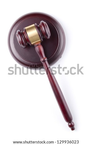 brown gavel with a brass band on a white background - stock photo