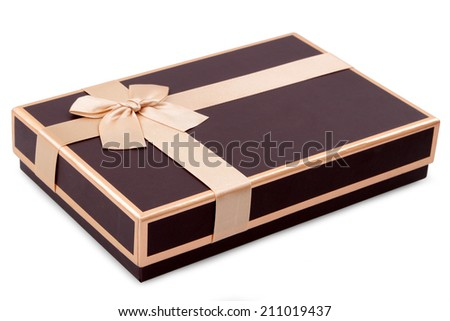 brown gifts box and gold bow isolated on white - stock photo