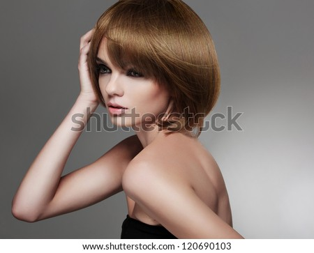 Brown Hair. Beautiful Woman with Bob Hairstyle . High quality image. - stock photo