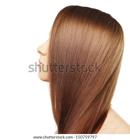 Brown Hair. Woman with Healthy Long Hair,White background - stock photo