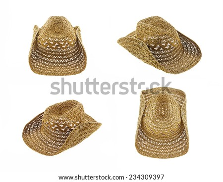 brown hat isolated on white background, cowboy hat set 4 - stock photo
