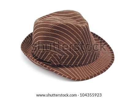 brown hat on white background - stock photo