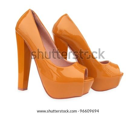 Brown high heels open toe pump shoes - stock photo