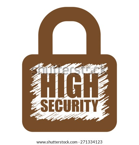 Brown High Security Lock Banner, Sign, Label or Icon Isolated on White Background - stock photo