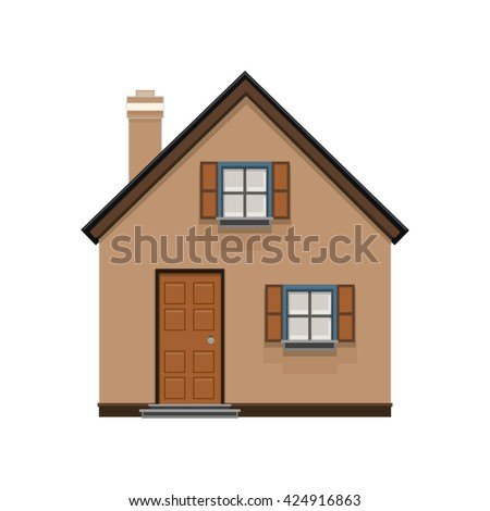 brown house icon isolated on white background. house icon, building, real estate concept, flat icon. illustration in flat design - stock photo