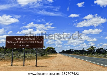 brown information roadsign in Western Australia nullarbor plain along Eyre highway about 90 mile straight road ahead - stock photo