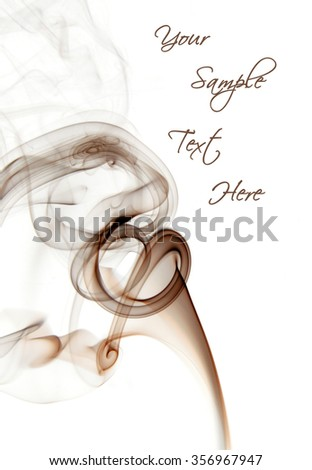 Brown insence smoke on white background, graphic resource with space to put your text. - stock photo