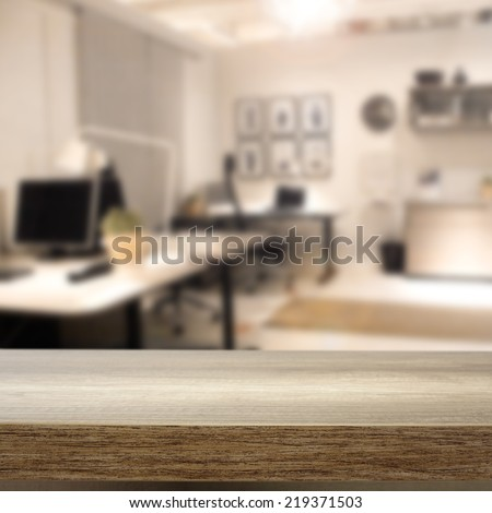 brown interior of office and desk  - stock photo