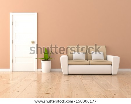 brown interior with sofa - stock photo