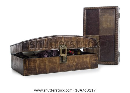 Brown jewelry box view isolated on white background - stock photo