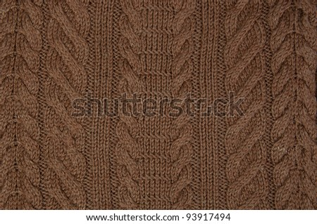 brown knitting texture or background - stock photo