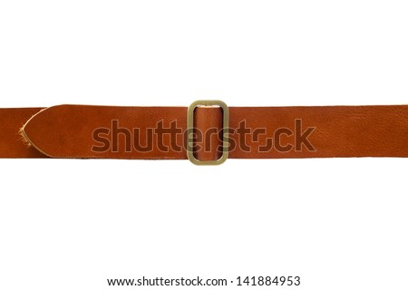 Brown leather belt - stock photo