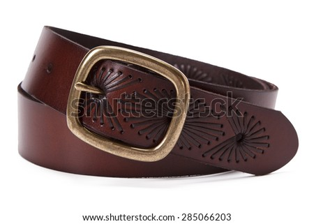 brown leather belt for men on white background - stock photo