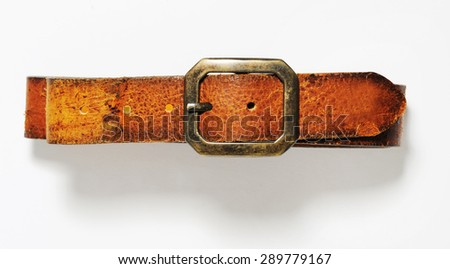 brown leather belt isolated - stock photo