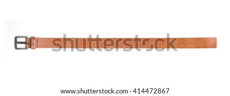 Brown leather belt isolated on white background. - stock photo