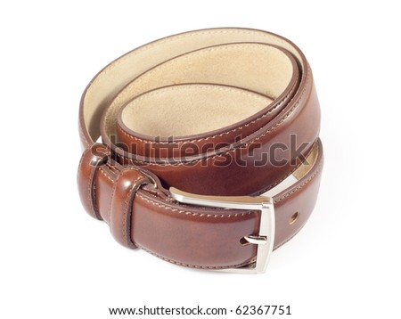 Brown leather belt. Isolated on white background with clipping path. - stock photo