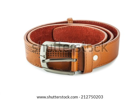 Brown leather belt on white background - stock photo