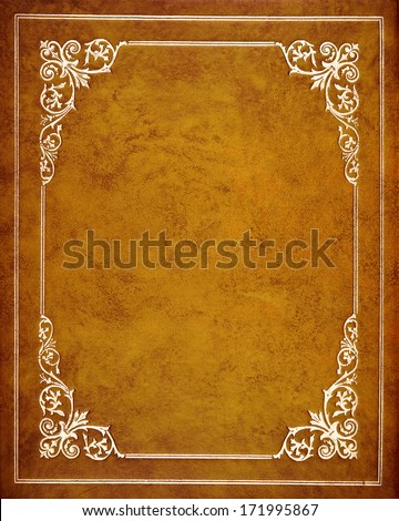 Brown leather book cover - stock photo