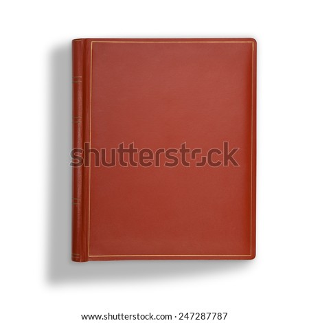 Brown leather book cover on white with long shadow - stock photo