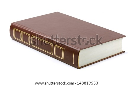 Brown leather book isolated on white - stock photo