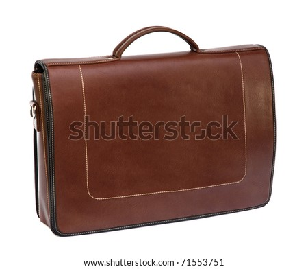 Brown Leather Briefcase - stock photo