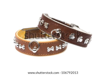brown leather collars - stock photo