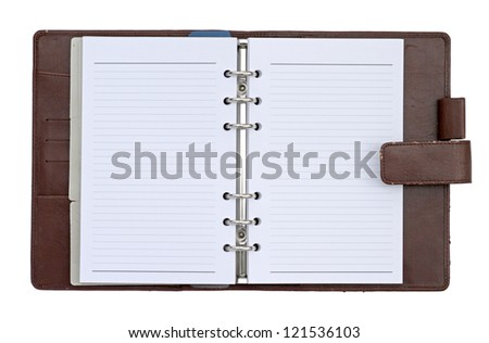 Brown leather cover notebook isolated on white background - stock photo