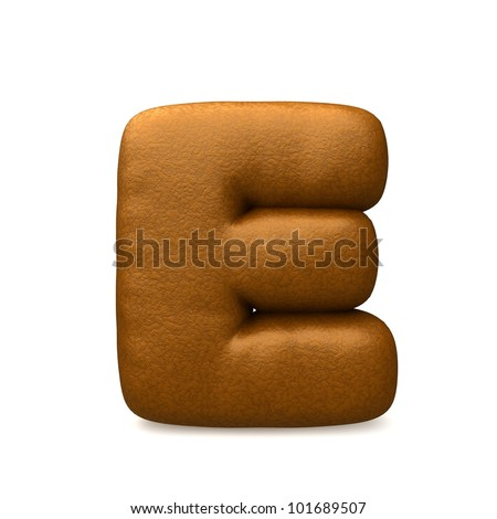 brown leather e letter isolated on a white background - stock photo