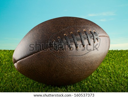 Brown leather football over green grass, with blue sky on the back - stock photo