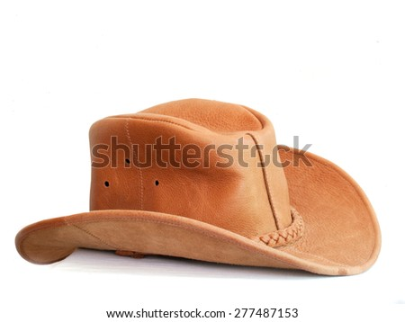 Brown leather hat - stock photo