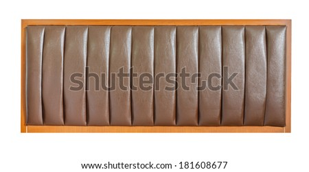 brown leather headboard isolated on white - stock photo