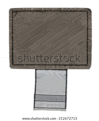 brown leather jeans label on white background  - stock photo