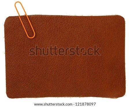 Brown leather label - stock photo