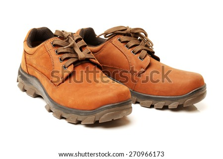 Brown leather man's shoes isolated on white background - stock photo