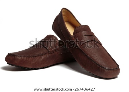 Brown leather men shoes isolated on the white background - stock photo