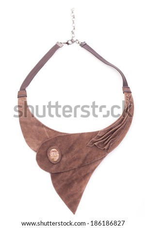 Brown leather necklace handmade isolated - stock photo